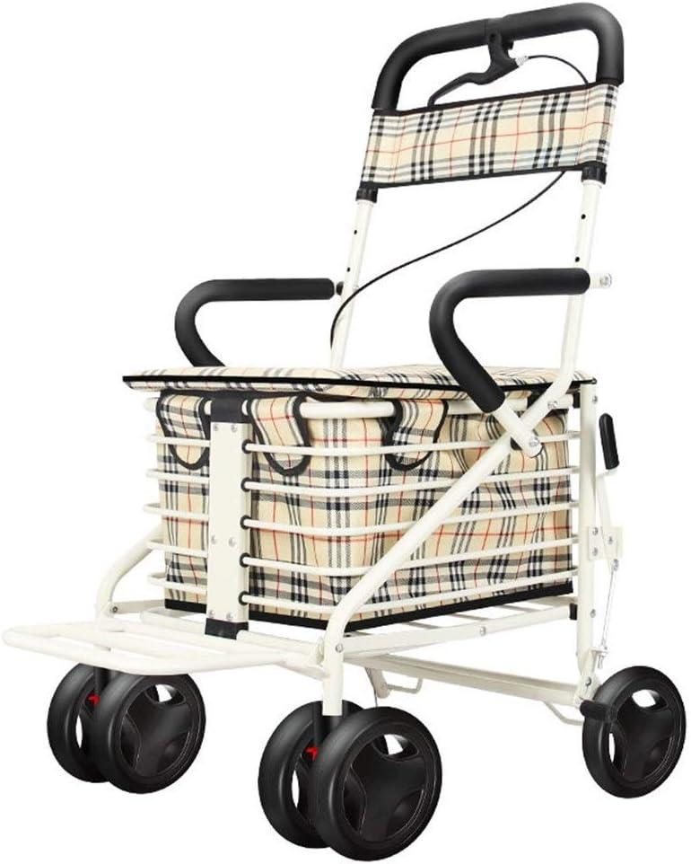 4-Wheel Folding Shopping Cart Seat können nehmen Four Rounds zu kaufen Food und Hilfe Push Small Cart Elderly Stroller