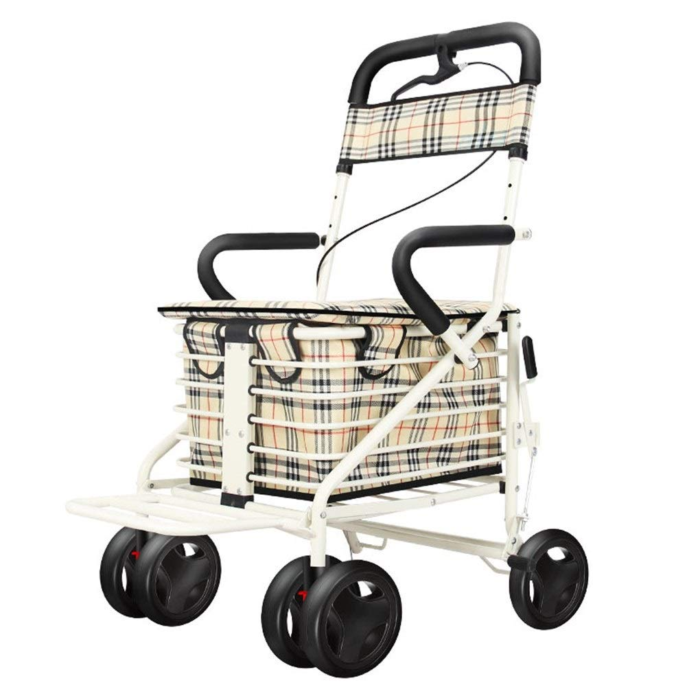 4-Wheel Folding Shopping Cart Seat Can Take Four Rounds to Buy Food and Help Push Small Cart Elderly Stroller by FHRX