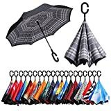 BAGAIL Double Layer Inverted Umbrellas Reverse Folding Umbrella Windproof UV Protection Big Straight Umbrella for Car Rain Outdoor With C-Shaped Handle Grid