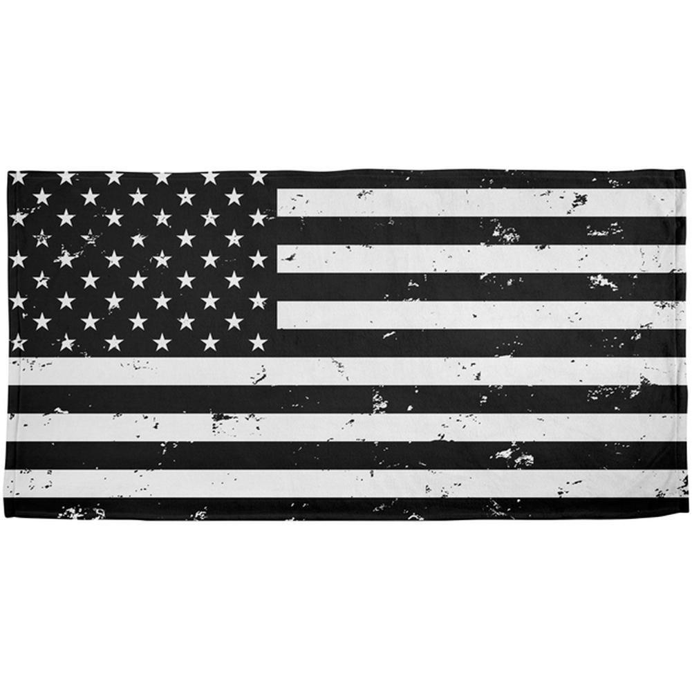 Old GloryブラックandホワイトAmerican Flag All Overビーチタオル OneSize 00185431-MUL-OS B07BT2C4GW マルチカラー OneSize