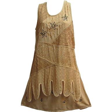 Yoga Trendz Stonewashed Embroidered Gypsy Indian Sleeveless Mid-Length Shift Dress (Small/Medium