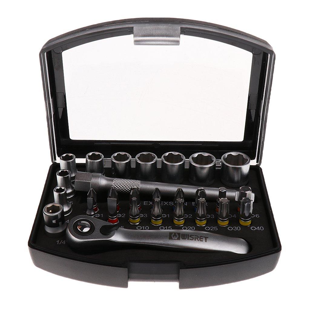 Fenteer 多機能 ミニラチェット レンチ ソケット ビットセット 28個修理ツールキット 収納ケース付き B078WTF4TL