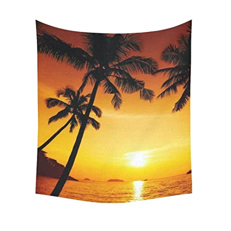 Amazon.com: Interestprint Island Palm Tree Sunset Tapestry Wall ...