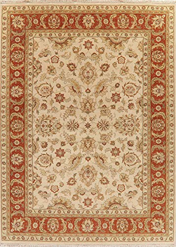 New Classic Floral Ivory Rust Oushak Agra Oriental Area Rug Wool 9'X12'