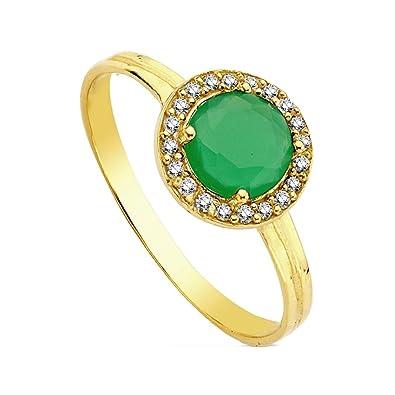 18 Karat Gold Ring Gruner Stein Multipiedra 9mm Ab3139 Amazon De