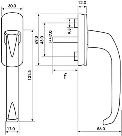 Schrauben 1 St/ück ToniTec Fenstergriff Aluminium Wei/ß Olive ModellLENA II mit 35mm Stift inkl