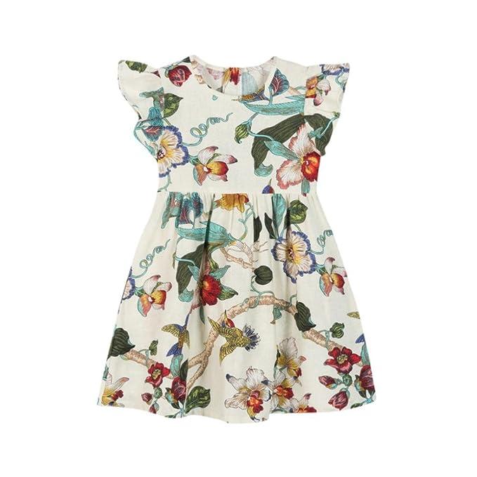 Vestido Para Bebé NiñAs DRESS Start® Vestido ImpresióN Floral Y Dibujos Animados De Conejo Sin