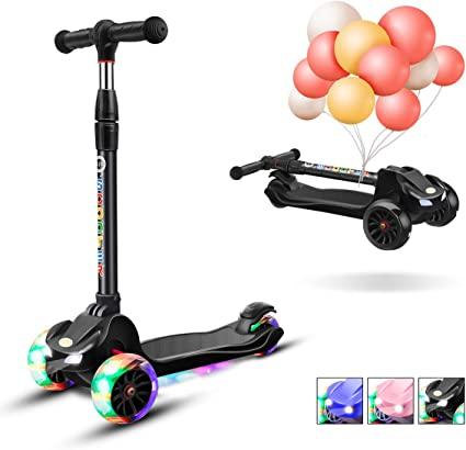 XJD Kick Scooter for Kids 3 Wheel Scooter for Girls Boys Toddler Scooter 4 Adjustable Height Lean to Steer with PU Flashing Wheels for Children from 3 ...