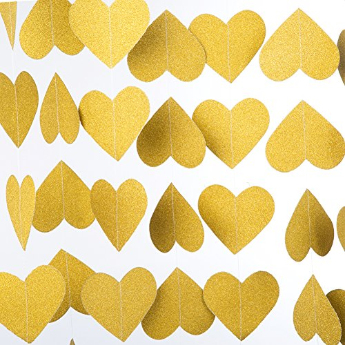 MOWO Heart Paper Garland Circle Chain Hanging Decor, 10ft (glitter gold, -