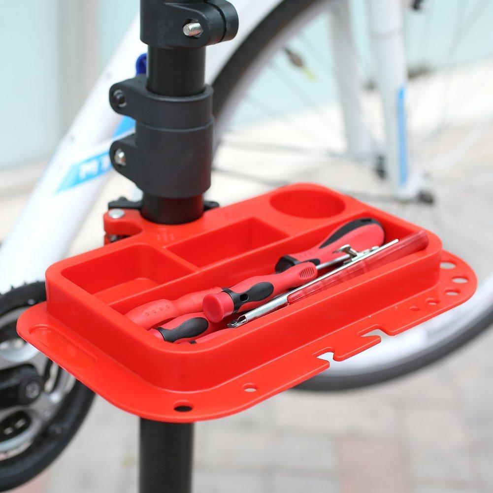 amzdeal Fahrradmontagest/änder Reparaturst/änder mit Werkzeugablage klappbar /& h/öhenverstellbaron 115-170cm schwarzer Montagest/änder vierbeinig Fahrradmontagest/änder falter Montagest/änder bis 50kg
