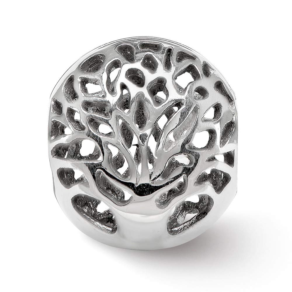 FB Jewels Solid 925 Sterling Silver Reflections Polished Cut-Out Tree Bead