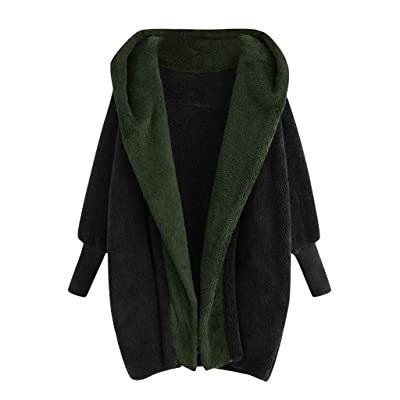Sttech1 Women Fuzzy Fleece Open Front Cardigan Outwear Long Sleeve Solid Patchwork Lapel Jacket Trench Coat with Pocket: Clothing