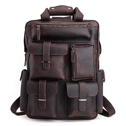 Men's Bags 2019 New Style New Genuine Leather Men Backpack Computer Shoulder Bag Handmade Retro Brown Leather Large Capacity Travel Backpacks Laptop Bags Backpacks