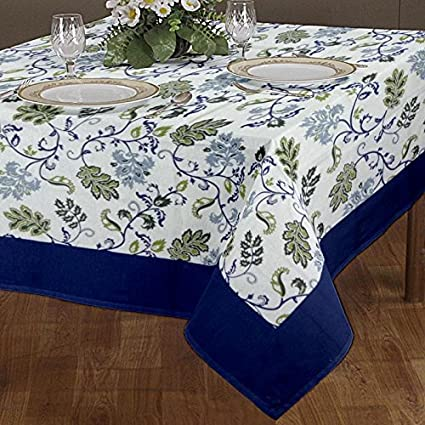 Cloth Fusion Cotton Center Table Cover 4 Seater - (40x60 Inch, Blue)