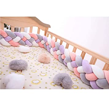 Blue + Gray + White,3m Braided Soft Baby Cot Bumper Roll Anti Allergy Cotton Cushion Nursery Baby Nest Cot Protector Bed Sleep Bumper