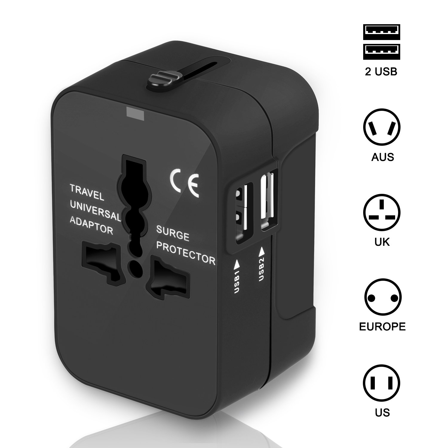 Travel Adapter, International Power Plug Converter UK Plug Adapter Kits with Dual USB Ports Worldwide All in One AC Wall Outlet Charger Adapters for UK, US, AU, Europe & Asia(Black) by Cell-Tronics