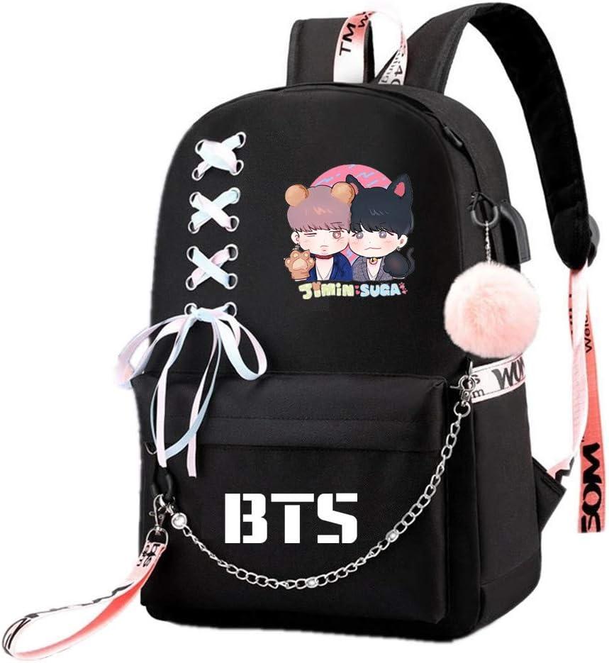 JUSTGOGO Korean KPOP BTS Bangtan Boys Backpack Daypack Laptop Bag School Bag Mochila Bookbag (Black 6)