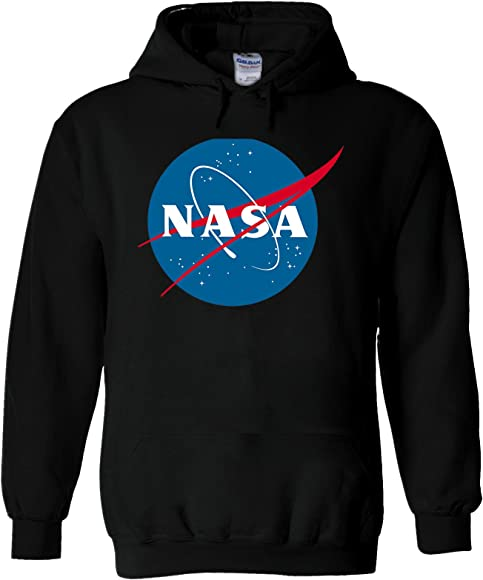 46e1b66e5 Amazon.com: Nasa National Space Administration Logo Black Men Women Unisex  Hooded Sweatshirt Hoodie-S: Clothing