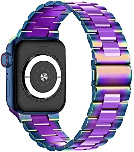 Maxjoy Compatible with Apple Watch Band, 38mm 40mm 42mm 44mm Metal Replacement Strap Solid Stainless Steel Bracelet Compatible with Apple iWatch Series 6 5 4 3 2 1 SE Sport Edition, Colorful