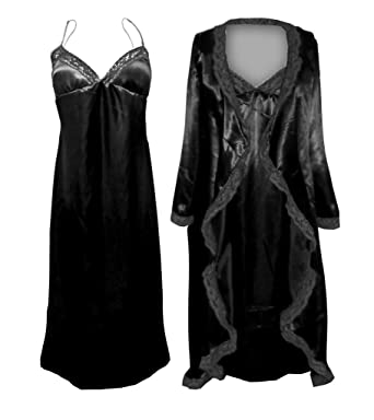 Sanctuarie Designs Women s  0x  Black Satin Nightgown Robe W Black Lace  Trim Plus Size 17ea9d03e8
