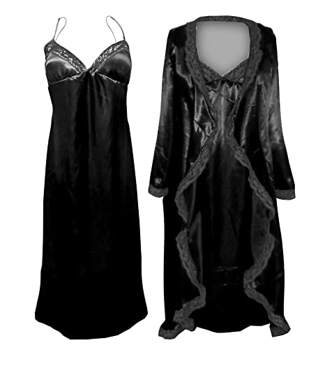Womens Black Satin Nightgown Robe W Black Lace Trim Plus Size