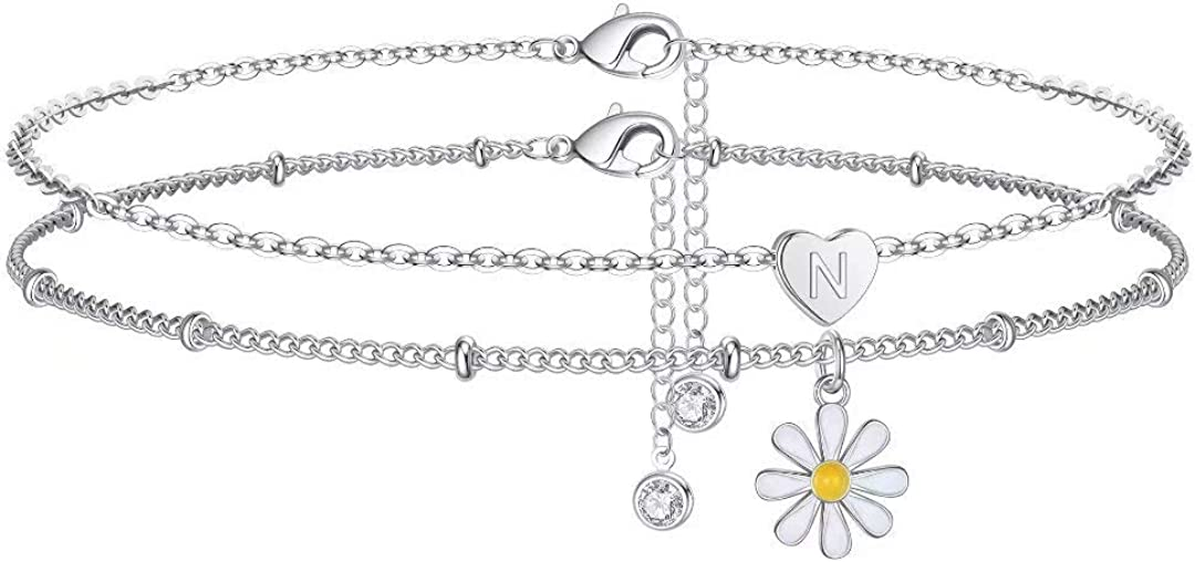 Memorjew Initial Ankle Bracelets for Women, Silver Double Layered Daisy Flower Anklets with Initial Jewelry for Women Teen Girls
