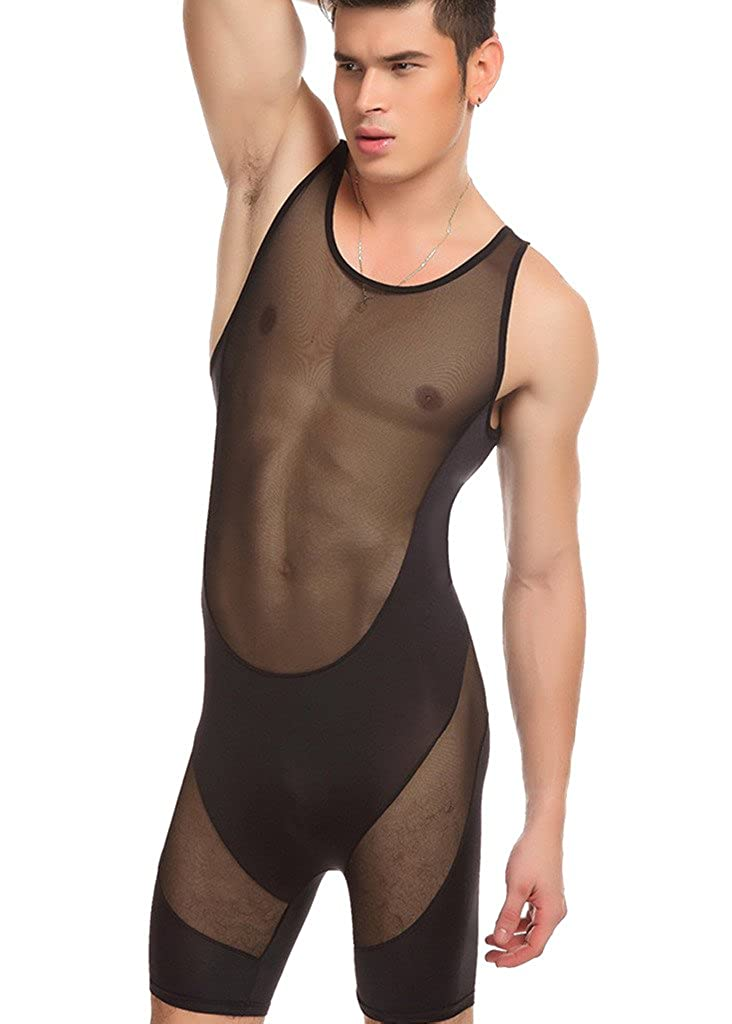 Barsty Men's Slim Stretch Mesh Lingerie Bodysuit Jumpsuits Bodywear Underwear