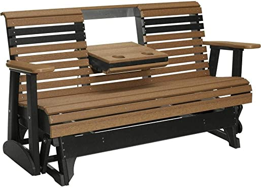 LuxCraft 5 Rollback Recycled Plastic Patio Glider with Flip Down Center Console
