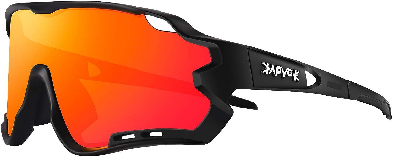 KAPVOE Cycling Glasses Sports Sunglasses Polarized - Protection Biking Goggles Glasses Fishing Golf Baseball Running MountainClimbing Glasses Tr90 Frame 100% Uv400 Protection