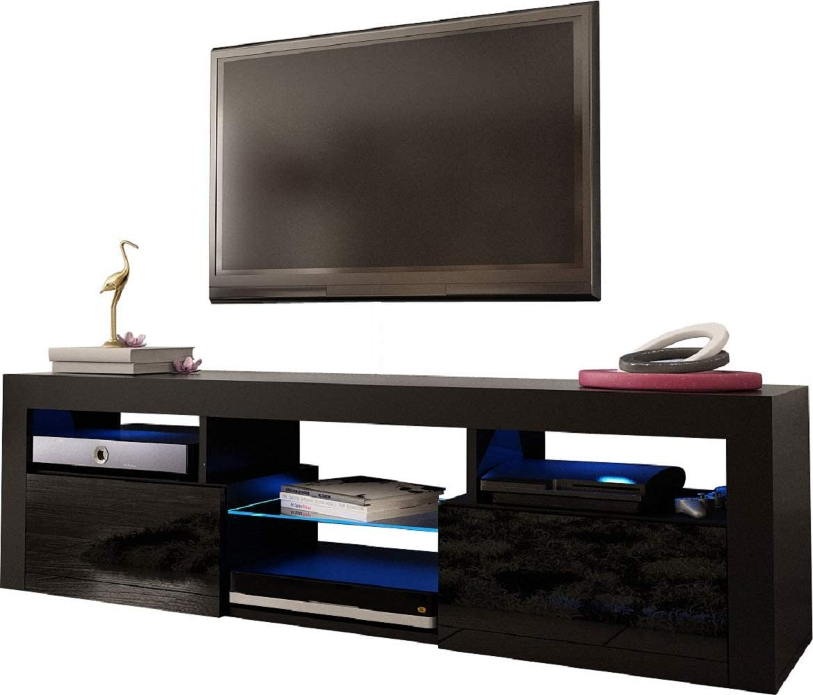 """Meble Furniture & Rugs Bari 200 Wall Mounted Floating 79"""" TV Stand with 16 Color LEDs Black"""
