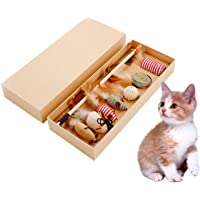 YTCYKJ 7 Pcs Pet Toys with Catnip Pet Toy Wood Rod Funny Stick Pet Toy Set Gift Box Combination Tray