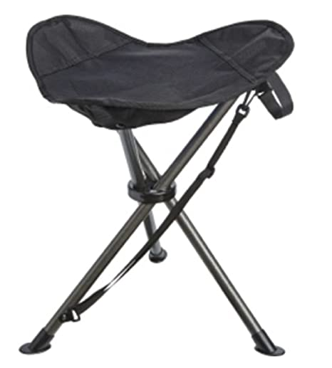 Quest Folding Stool Portable For Camping, Sporting Events, Or Back Yard  (Black)