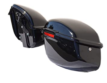 Vivid Gloss Black ABS Saddlebags Fully Assembled For Harley Davidson Sportster 883 1200 2004