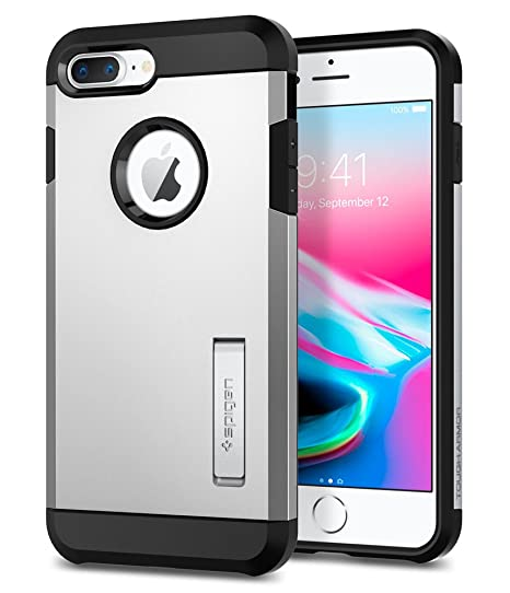 quality design 6d00c decc0 Spigen Tough Armor [2nd Generation] Designed for Apple iPhone 8 Plus Case  (2017) / Designed for iPhone 7 Plus Case (2016) - Satin Silver