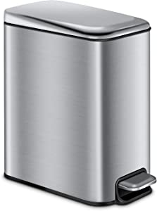CLTEC Slim Bathroom Trash Can with Lid Soft Close and Removable Inner Wastebasket, Rectangular Small Stainless Steel Garbage Can for Bedroom Office, Anti-Fingerprint Brushed Finish, 5L/1.3Gal, Silver
