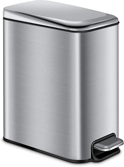 Amazon Com Cltec Rectangular Bathroom Trash Can With Lid Soft Close Slim Small Trash Can With Removable Inner Wastebasket Anti Fingerprint Brushed Stainless Steel Finish 5l 1 3gal Silver Home Kitchen