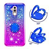 Yobby Glitter Case for Huawei Mate 20 Lite,Luxury Crystal Rhinestone Soft Silicone Case with Ring Holder,Gradient Bling Liquid Floating TPU Bumper Cushion Girls Women Cute Cover-Blue/Purple