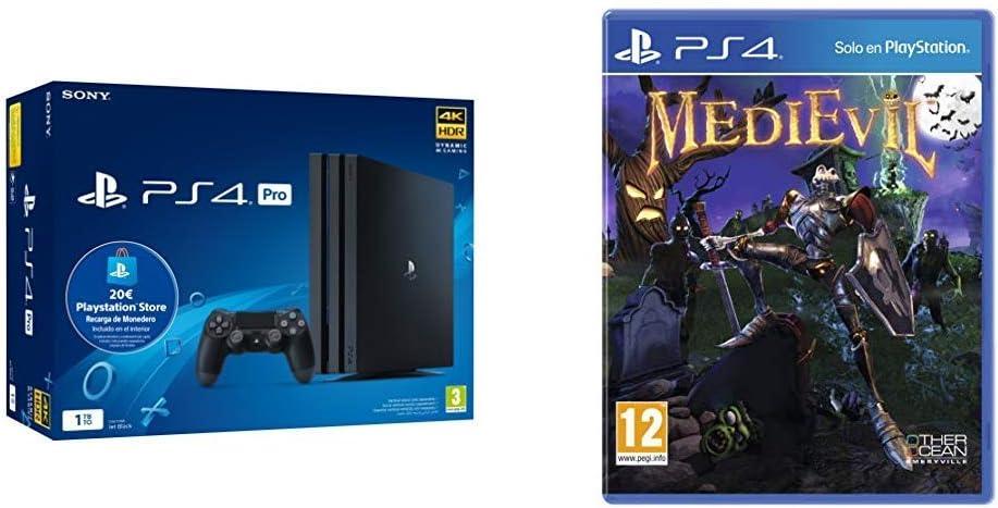 Sony Playstation 4 Pro (PS4) Consola de 1TB + 20 euros Tarjeta Prepago (Edición Exclusiva Amazon) - nuevo chasis G + Medievil: Amazon.es: Videojuegos