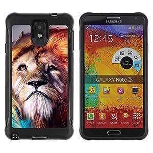 All-Round híbrido Heavy Duty de goma duro caso cubierta protectora Accesorio Generación-II BY RAYDREAMMM - Samsung Galaxy Note 3 - Lion Wind Majestic Creature Animal Nature