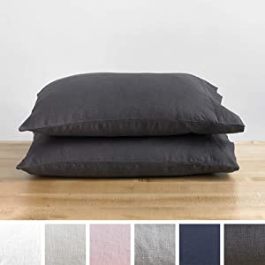 Baloo Pillow Case Set of 2 - Pure French Linen - Made with Premium Natural Chemical-Free Fibers (Charcoal, Standard Size, 20x30)