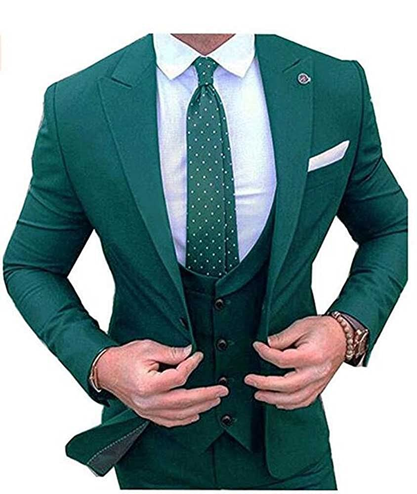 Men Suits 3 Pieces 1 Button Peak Lapel Slim Fit Groom ...