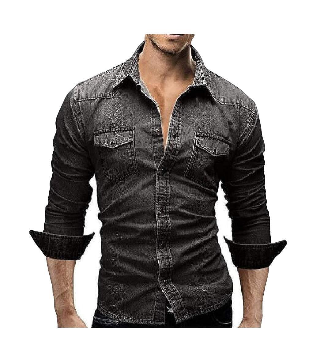 Etecredpow Mens Casual Button-Down Denim Jean Slim Long-Sleeve Shirts