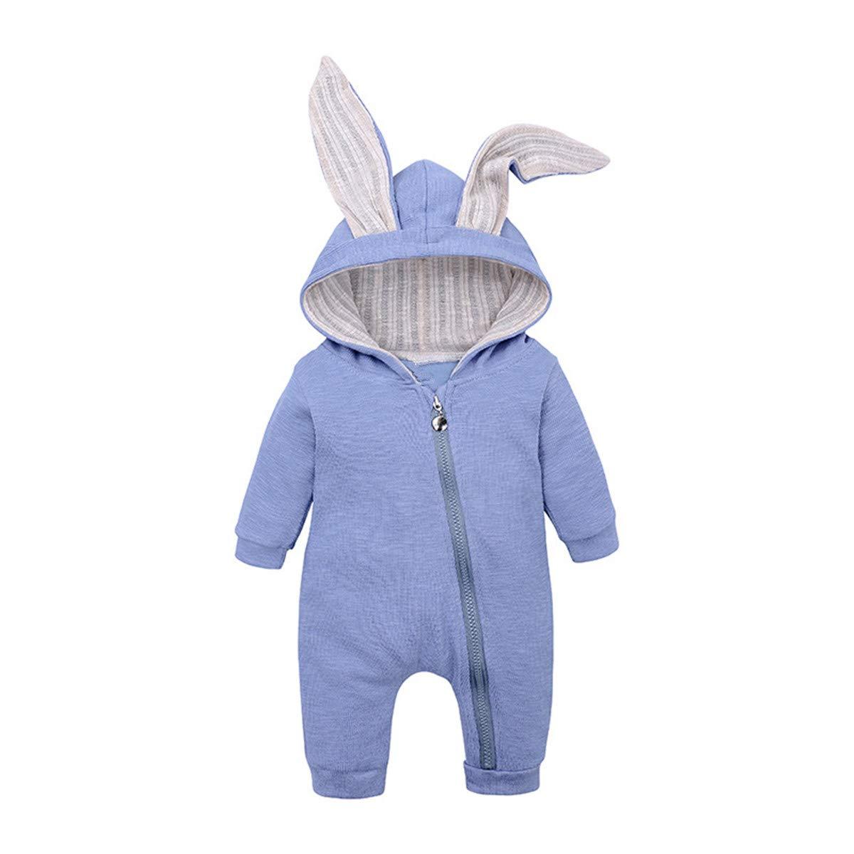 ZIYOYOR Baby Boys Girls Rabbit Ear Zipper Hooded Romper Newborn Baby Bunny Long Sleeve Jumpsuit Outfits
