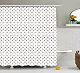Geometric Shower Curtain by Ambesonne, Old Fashioned Wallpaper Design with Floral Like Geometrical Icons Art, Fabric Bathroom Decor Set with Hooks, 75 Inches Long, Charcoal Grey Coconut