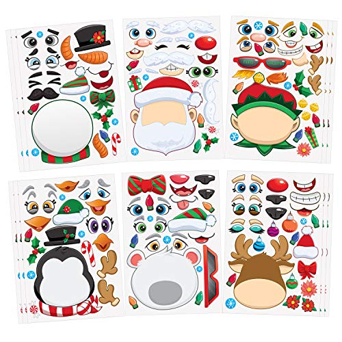 JOYIN 24 PCS Make-a-face Sticker Sheets Make Your Own Characters Mix and Match Sticker Sheets with Christmas Elf, Santa Claus, Snowman, Penguin and Polar Bear Kids Party Favor Supplies Craft (Christmas Penguins Crafts)