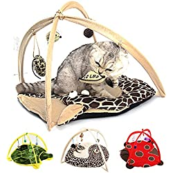 Cat Tent with Hanging Toys - Balls Mice & More Helps Cats Get Exercise and Stay Active, Best Cat Bed Tent Kitten Mat Pet Supplies (Giraffe)