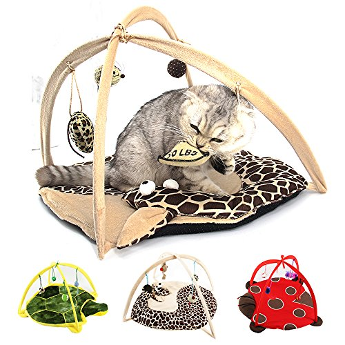 Cat Tent with Hanging Toys - Balls Mice & More Helps Cats Get Exercise and Stay Active, Best Cat Bed Tent Kitten Mat Pet Supplies - Cat Activity Center