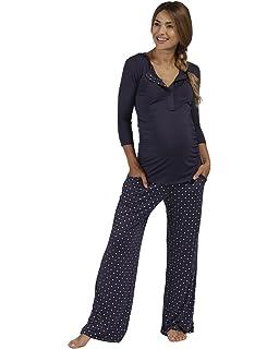 The Essential One - Mujeres Maternidad Pijamas Patrón del Corazón - Azul Marino - EOM201