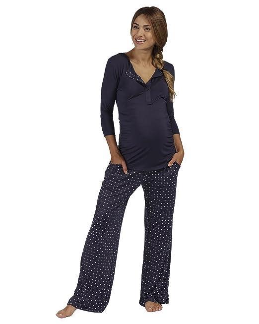 The Essential One - Mujeres Maternidad Pijamas Patrón del Corazón - Azul Marino - Mujeres: