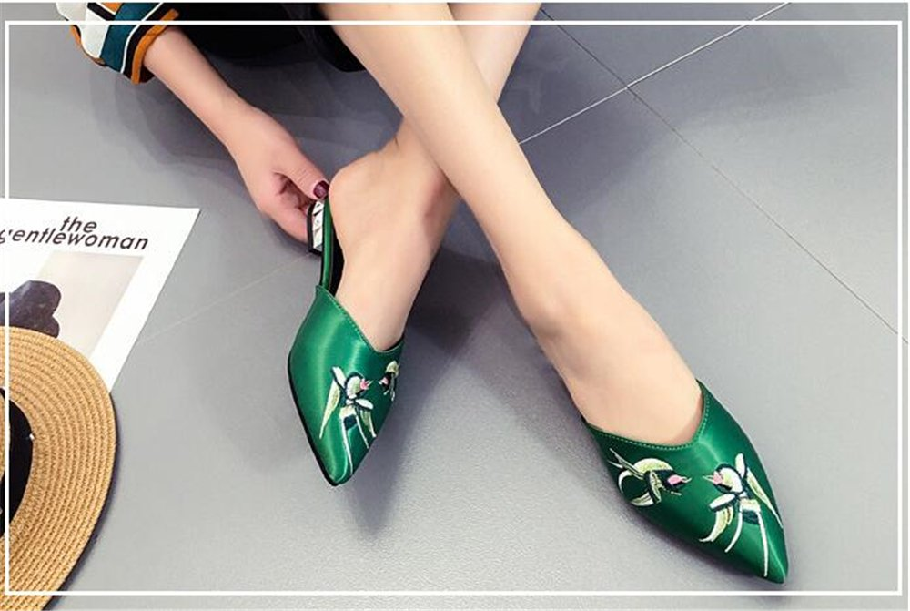 Dolwins Womens Satin Rhinestones Flat Sandals Pointed Toe Jeweled Embellishment Slides Sandals B07DNMP39P 40/9.5 B(M) US Women|Green-2